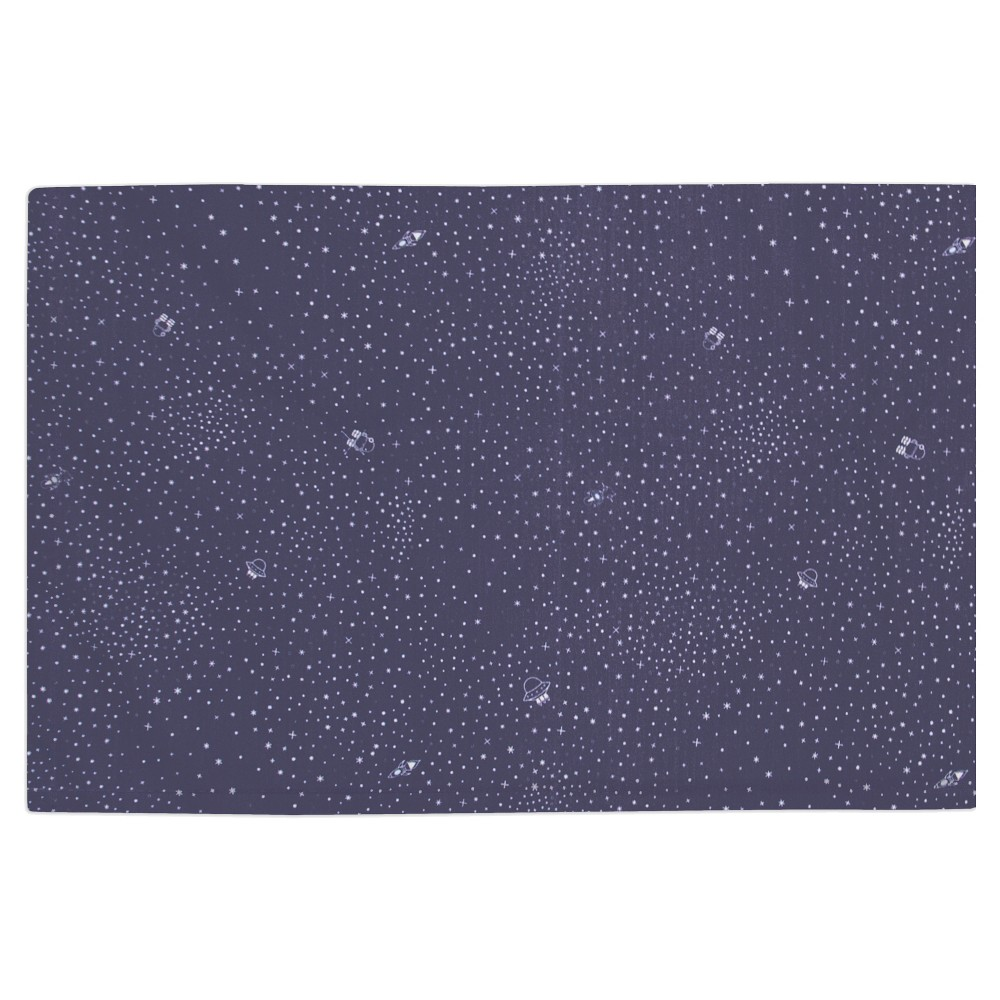 Image of Babyletto Galaxy Crib Skirt - Navy Stars, Blue