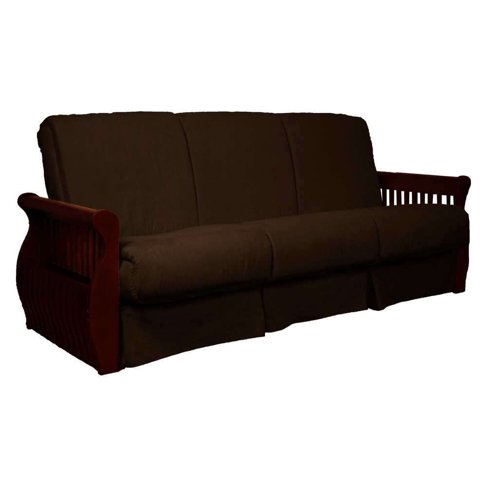 Storage Arm Perfect Futon Sofa Sleeper Mahogany Wood Finish Chocolate Brown - Epic Furnishings