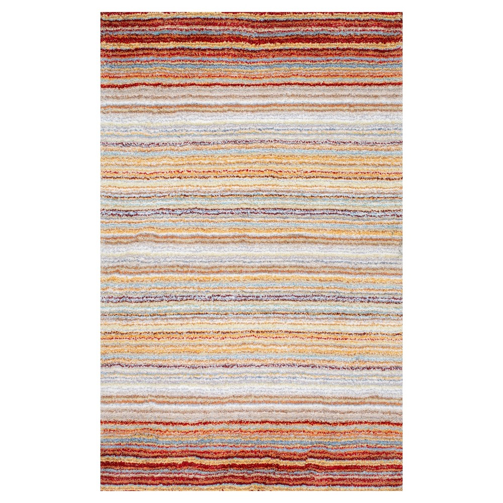 Red Stripe Tufted Area Rug - (8'x10') - nuLOOM, Red Multi