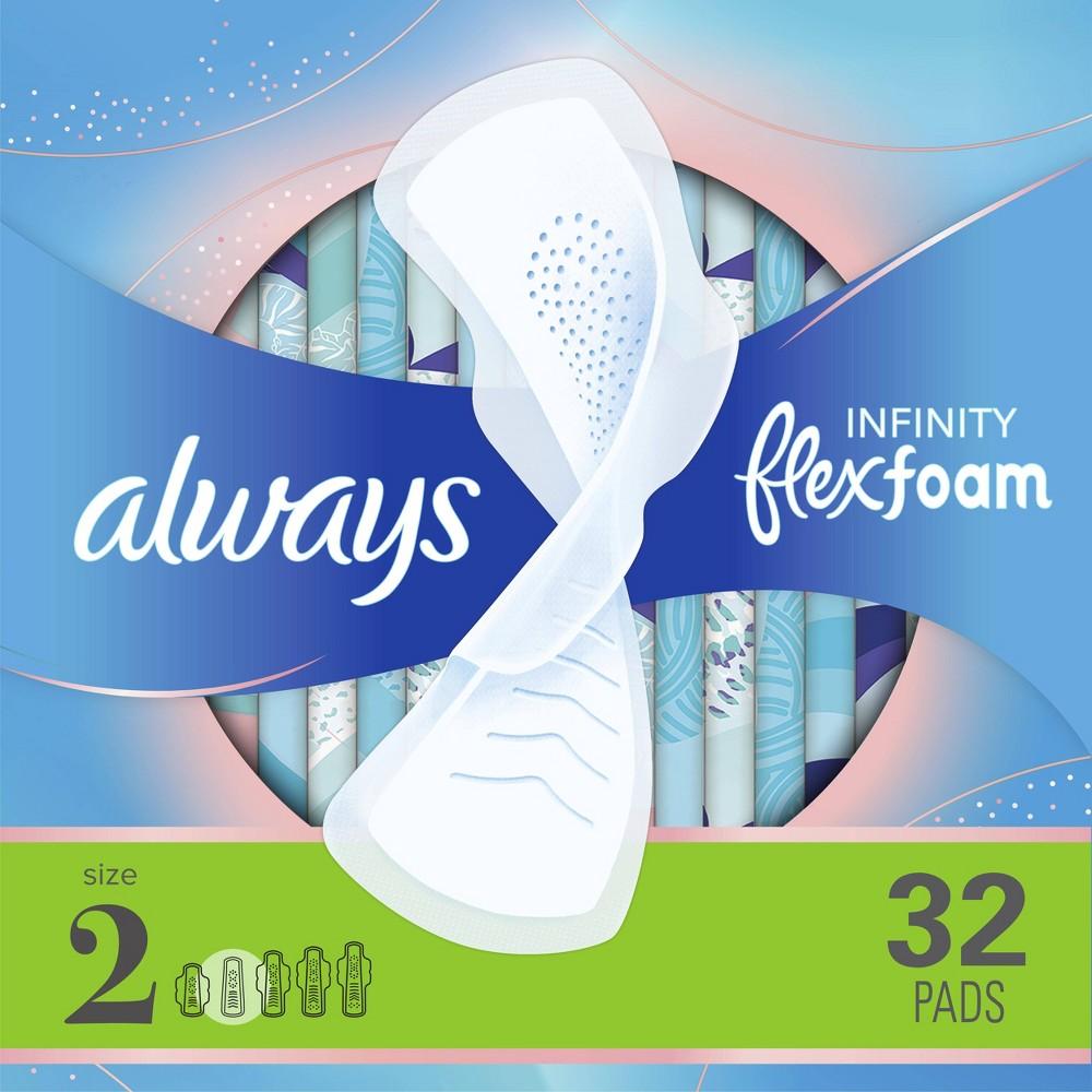 Always Infinity Flexfoam Pads For Women Size 2 Super Absorbency Unscented 32ct