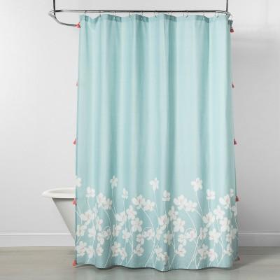 Hibiscus Floral Shower Curtain Aqua - Opalhouse™