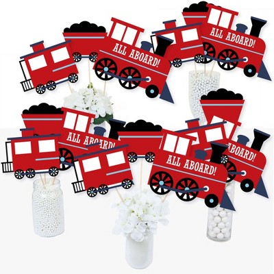 Big Dot of Happiness Railroad Party Crossing - Steam Train Birthday Party or Baby Shower Centerpiece Sticks - Table Toppers - Set of 15