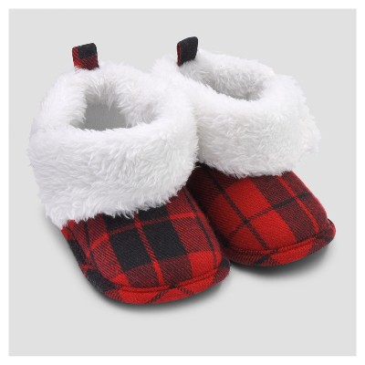 Baby Plaid Sherpa Slipper Boot - Just One You™ Made by Carter's® Red/Black 0-6M