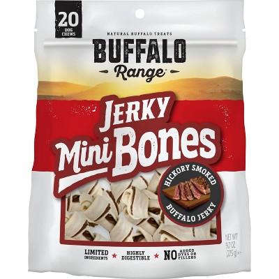Buffalo Range - Natural Jerky Mini Bones - Rawhide Chews for Dogs - 9.7oz - 20ct