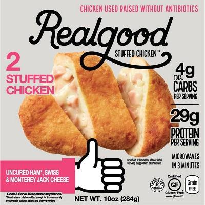 Realgood Uncured Ham Swiss & Monterey Jack Cheese Stuffed Chicken Breasts - Frozen - 10oz/2ct