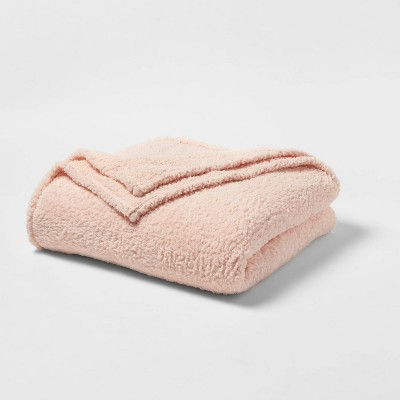Full/Queen Sherpa Bed Blanket Blush Peach - Room Essentials™