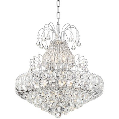 """Vienna Full Spectrum Chrome Tiered Chandelier 21 1/2"""" Wide Crystal 8-Light Fixture for Dining Room House Foyer Kitchen Entryway"""
