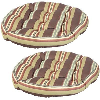 2pk Chocolate Stripes Polyester Tufted Large Round Floor Cushion - Sunnydaze Decor