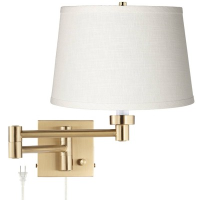 Barnes and Ivy Modern Swing Arm Wall Lamp Warm Antique Brass Plug-In Light Fixture White Linen Drum Shade Bedroom Bedside Reading