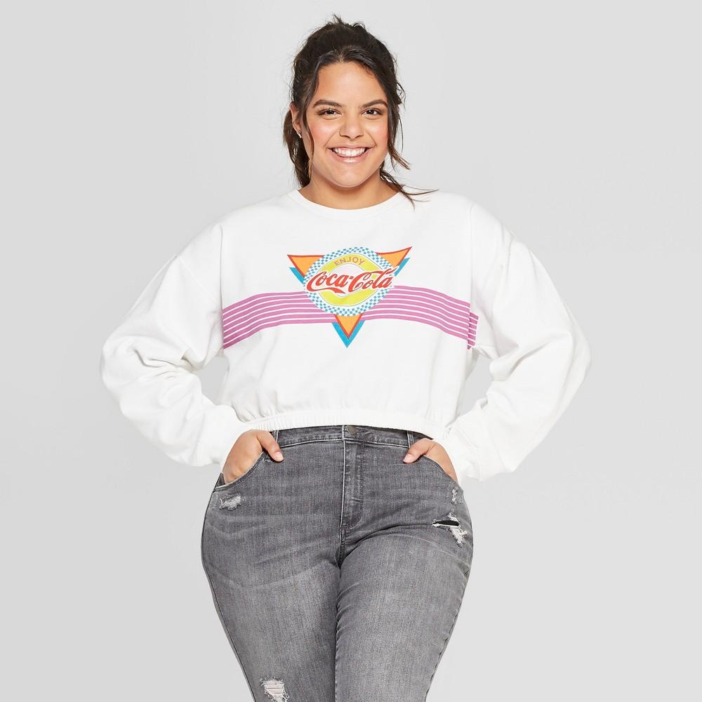 Women's Coca-Cola Plus Size Cropped Graphic Cropped Sweatshirt (Juniors') - White 1X