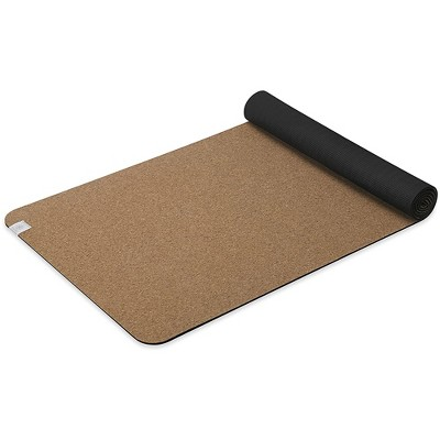 Gaiam 68 Inch Performance Supportive All Natural Cork and TPE Yoga Floor Mat with Superior Cushioning that Retracts Oder and Bacteria
