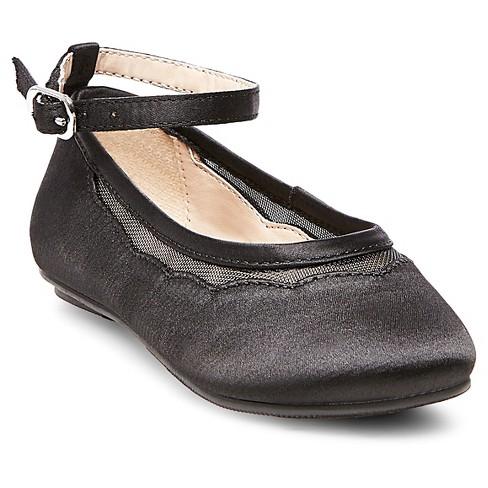 Toddler Girls' Jamie Satin Ballet Flats - Tevolio™ Black 10 - image 1 of 3