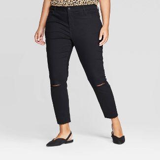 Women's Plus Size Skinny Jeans with Knee Slits - Ava & Viv™ Black 24W