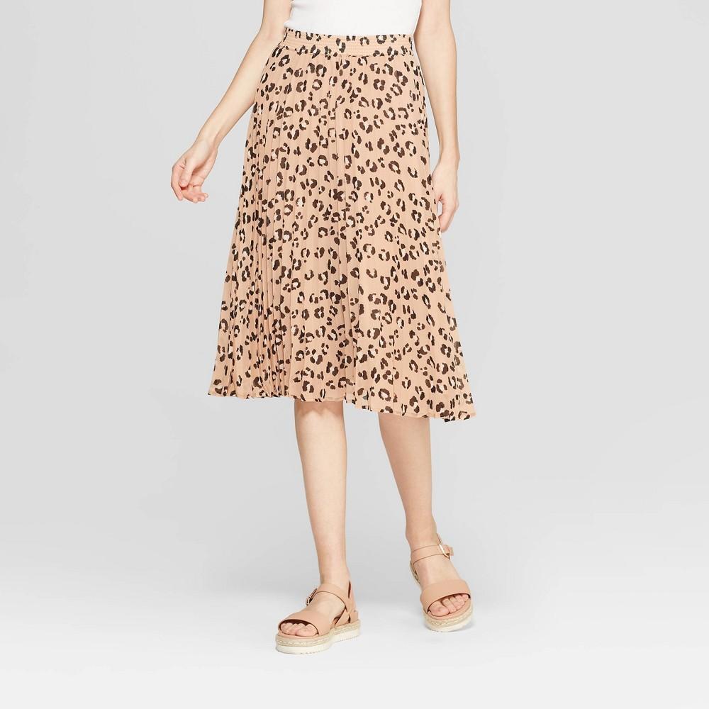 Women's Leopard Print A Line Pleated Midi Skirt - A New Day Tan XS, Beige