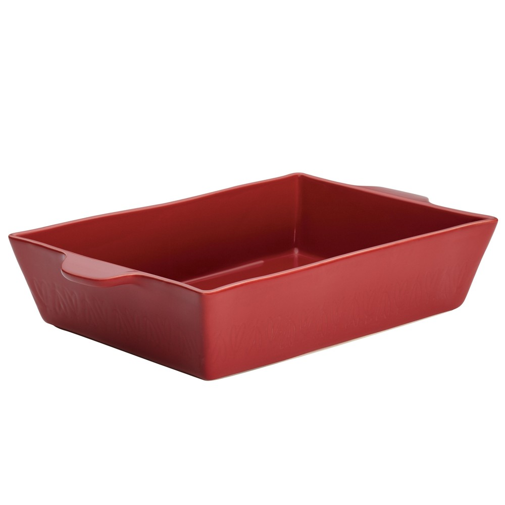 "Image of ""Ayesha Curry 9"""" x 13"""" Home Collection Stoneware Rectangular Baker, Sienna Red"""