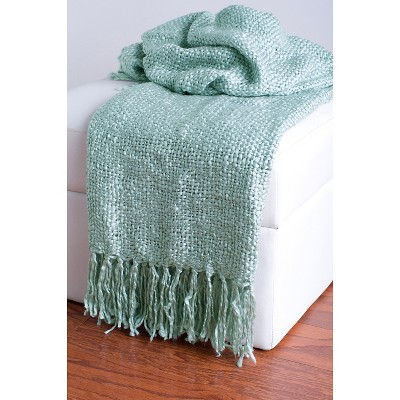Teal Acrylic Woven Throw - Rizzy Home