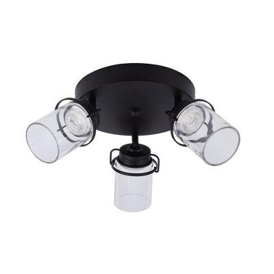 """11"""" 3-Light LED Integrated Round Track Lighting Kit Black - Cresswell Lighting"""