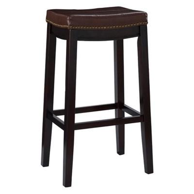 Padded Saddle Seat Barstool Hardwood Brown - Linon