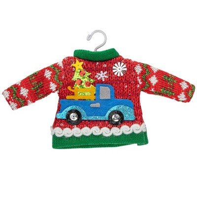 "Northlight 9"" Red Ugly Sweater on a Hanger with a Truck Design Christmas Ornament"