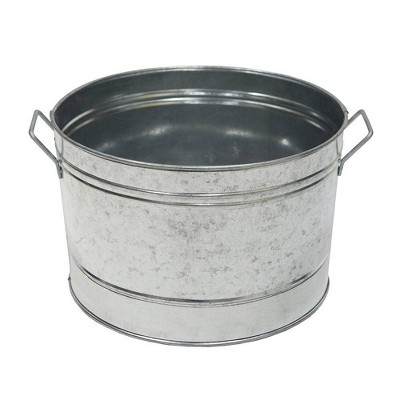 """16.25"""" Rustic Round Tub with 2 Side Handles Steel - ACHLA Designs"""