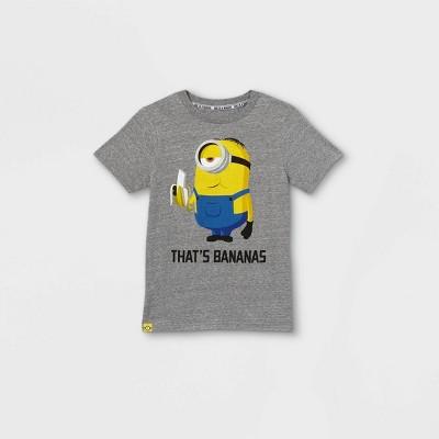 Boys' Universal Minions That's Bananas Short Sleeve T-Shirt - Gray