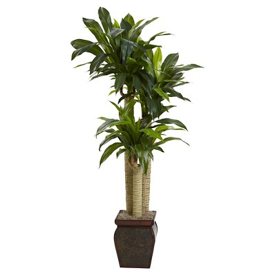 Nearly Natural 4.5' Cornstalk Dracaena Silk Plant with Vase (Real Touch)