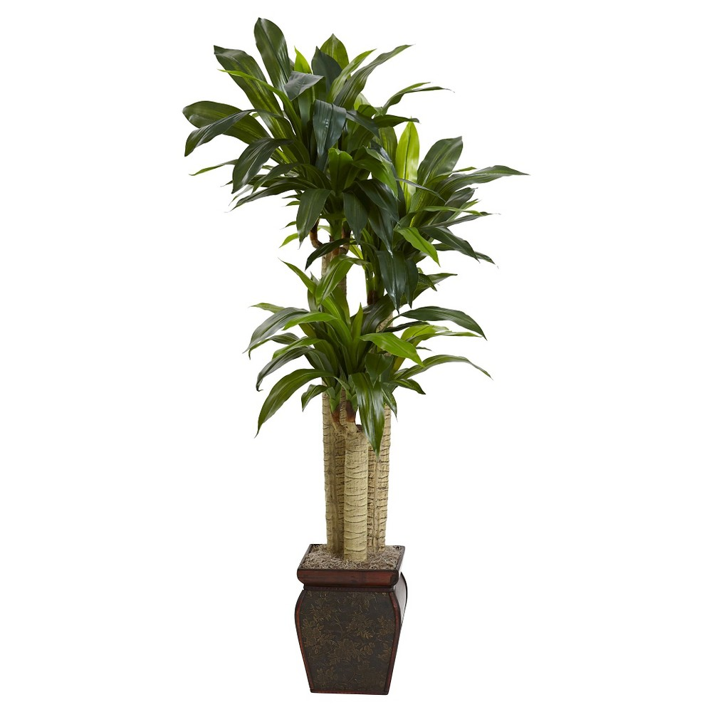 Nearly Natural 4 5 Cornstalk Dracaena Silk Plant With Vase Real Touch