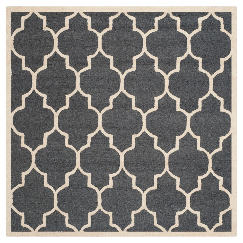 8'X8' Geometric Area Rug Dark Gray/Ivory - Safavieh