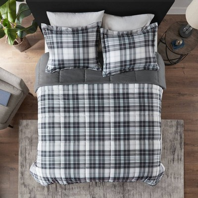 Full/Queen 3pc Hartford 3M Scotchgard Down Alternative All Season Comforter Set Black/White