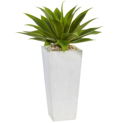 """25"""" x 18"""" Artificial Agave Plant with Planter White - Nearly Natural"""