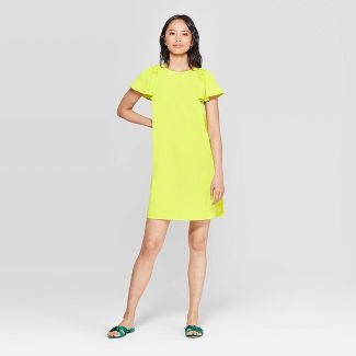 Women's Short Puff Sleeve Crewneck Mini Shift Dress - Who What Wear™ Yellow XS