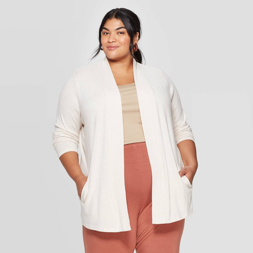 Women's Plus Size Collared Open Layering Cardigan - Ava & Viv Beige 4X was $27.99 now $19.59 (30.0% off)
