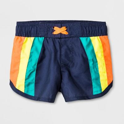 Baby Boys' Solid Stripes Swim Trunks - Cat & Jack™ Navy 12M