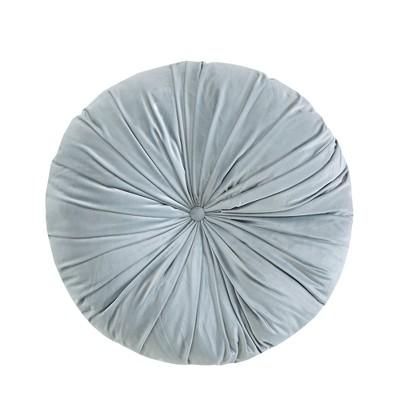 Light Gray Velvet Round Floor Pillow Cushion (24 x24 )