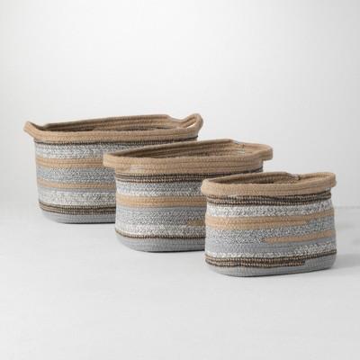 """Sullivans Set Of 3 Jute & Polyester Baskets 9""""H, 8.5""""H & 8""""H Brown"""