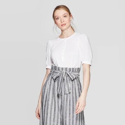 Women's Poplin Elbow Sleeve Crewneck Henley Shirt - Who What Wear™ - image 1 of 3