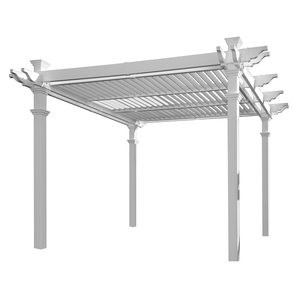 Image of Avalon Louvered Pergola - New England Arbors, White