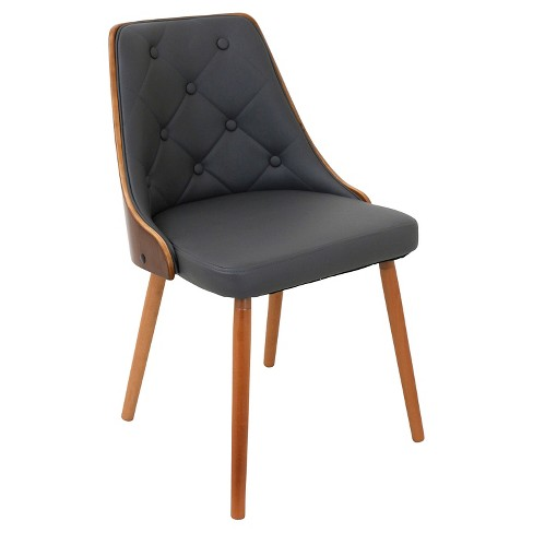 Incredible Gianna Mid Century Modern Walnut Upholstered Wood Back Dining Chair Wood Gray Lumisource Lamtechconsult Wood Chair Design Ideas Lamtechconsultcom