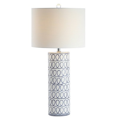 """28.75"""" Ceramic Loop Modern Column Table Lamp (Includes LED Light Bulb) Blue and White - Jonathan Y"""