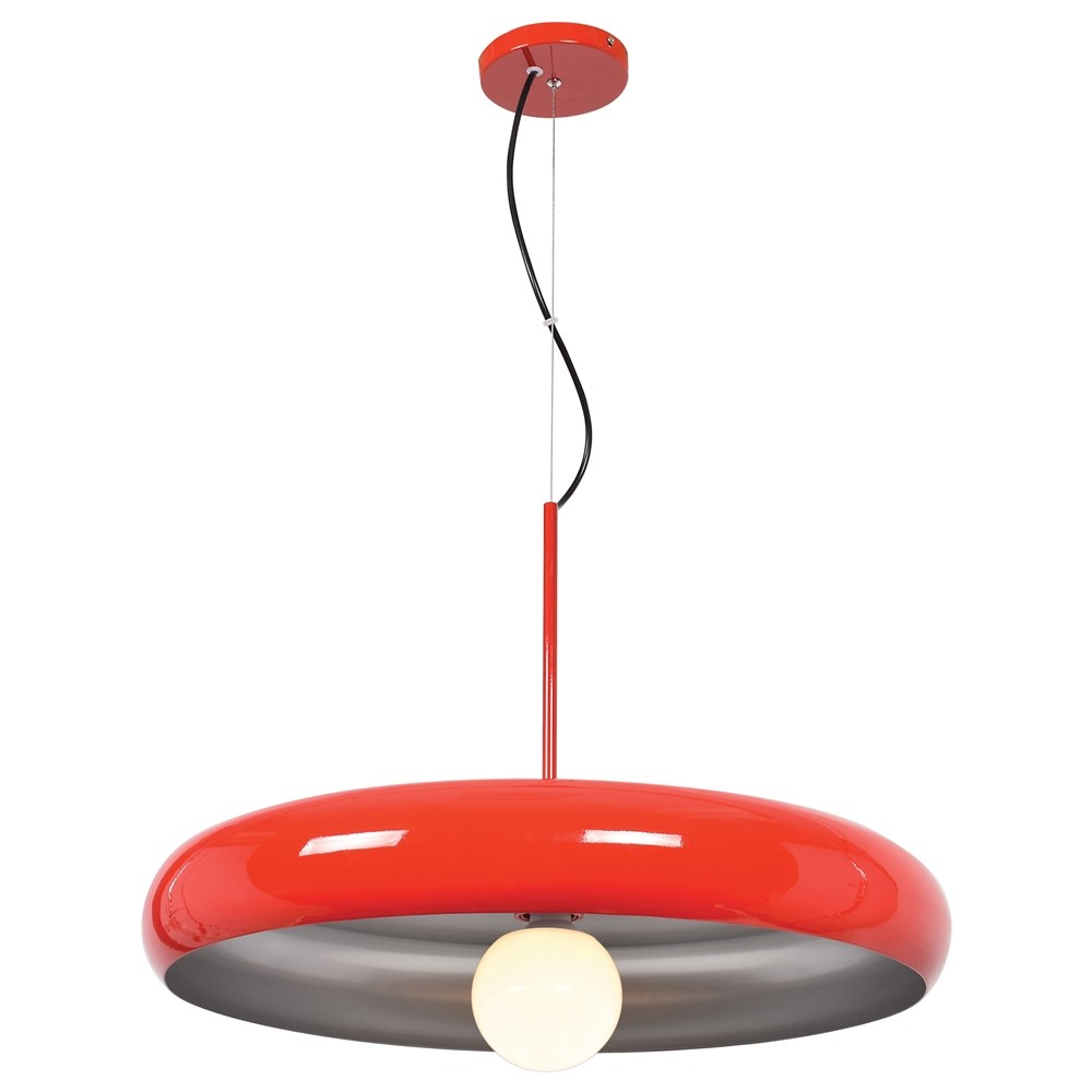Image of Access Lighting Large Bistro Round Colored Led Pendant with Shade Ceiling Lights Red