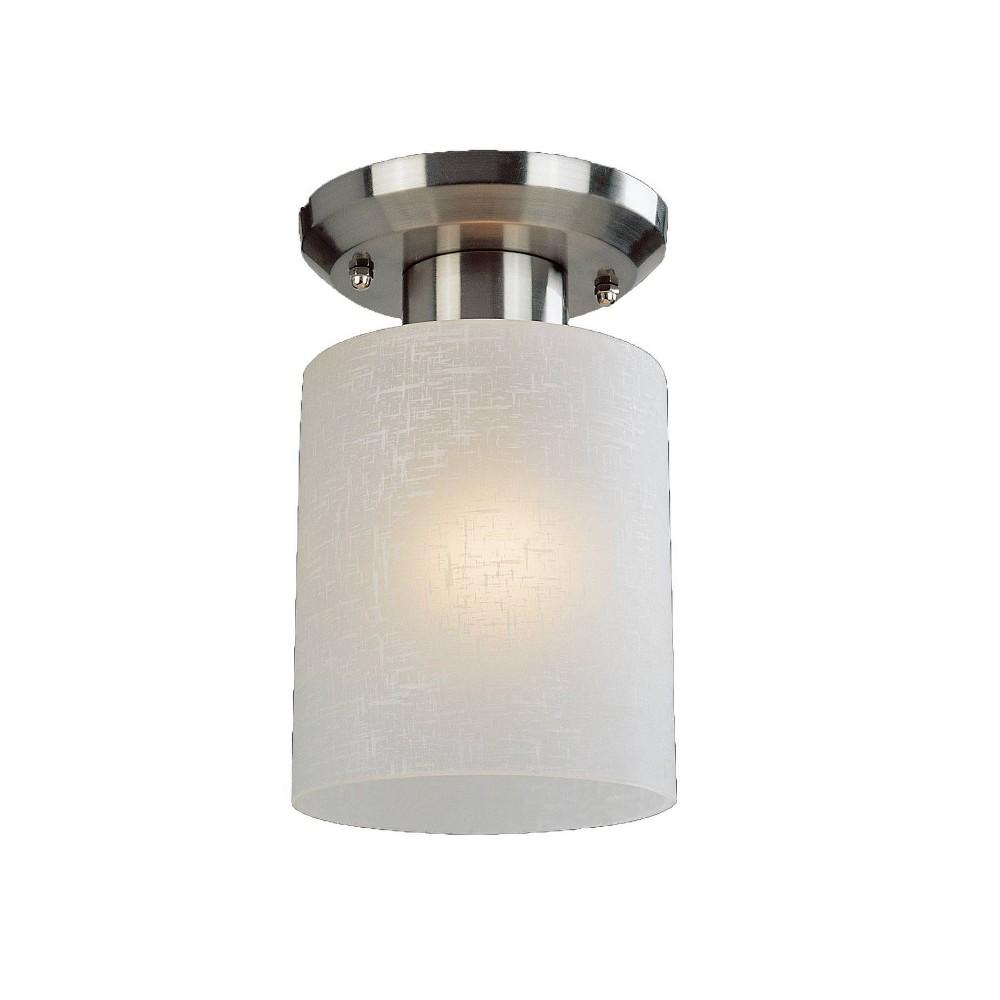 1 Light Steel Transitional Sleek Flush Mount With Linen Glass Shade Brushed Nickel Aurora Lighting