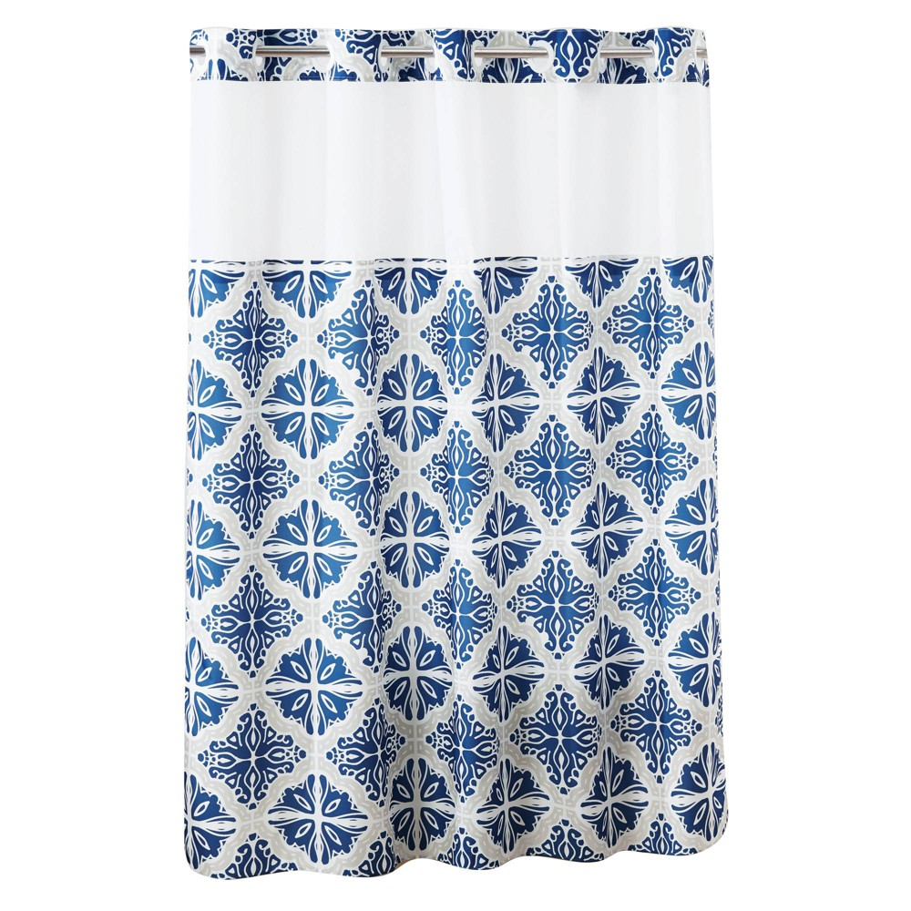 Missioi Medallion Shower Curtain With Liner Navy Hookless