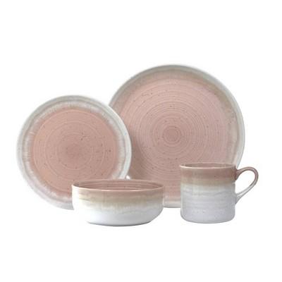 16pc Stoneware Hearth Dinnerware Set Pink - Baum Bros.