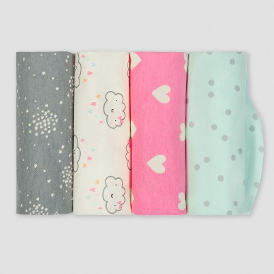 Gerber® Baby Girls' 4pk Flannel Receiving Blanket Clouds - Green/Pink/Gray