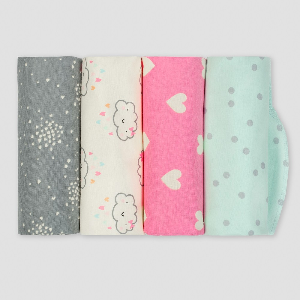 Gerber Baby Girls' 4pk Flannel Receiving Blanket Clouds - Green/Pink/Gray