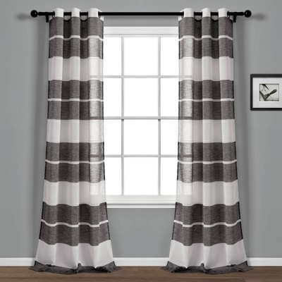 "Set of 2 38""x84"" Textured Stripe Grommet Sheer Window Curtain Panels - Lush Décor"
