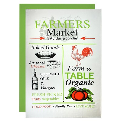 Farmer's Market Flour Sack Dish Towel Set Green (24 X36 )- Mu Kitchen