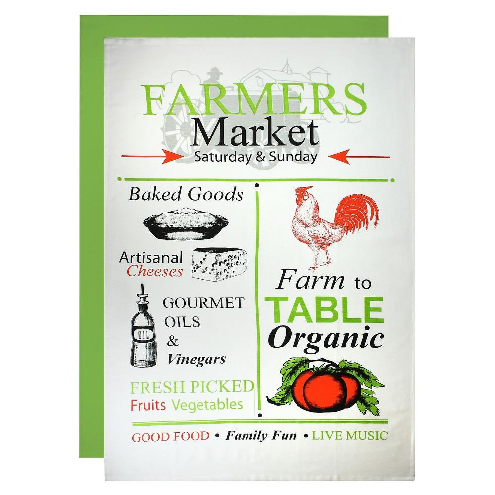 "Image of ""24""""X36"""" Farmer's Market Flour Sack Dish Towel Set Green- Mu Kitchen"""