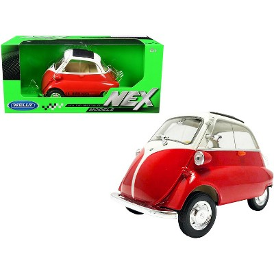 """BMW Isetta Red and White """"NEX Models"""" 1/18 Diecast Model Car by Welly"""