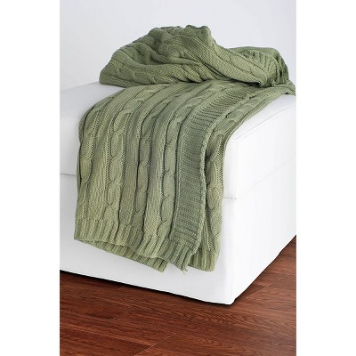 Olive Cable Knit Throw - Rizzy Home